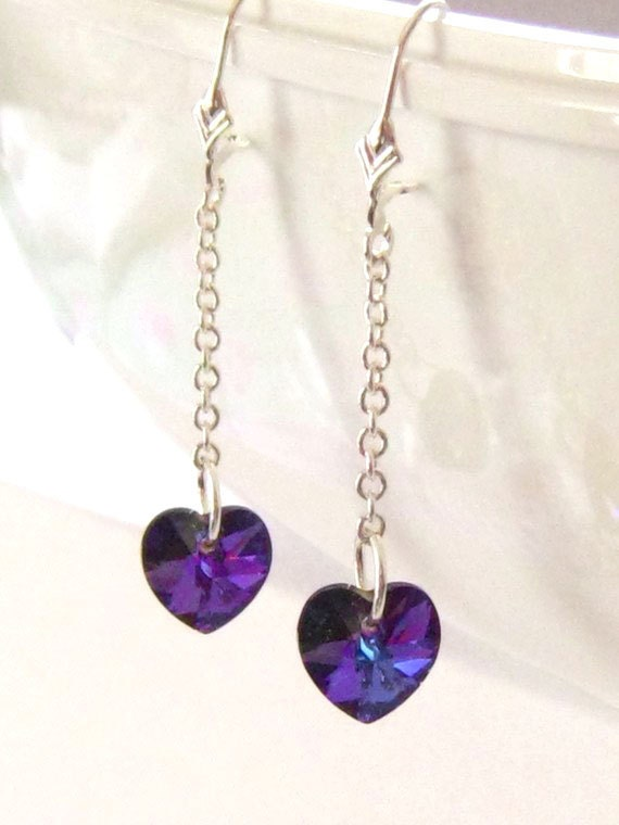 Swarovski Dangle Earrings, Purple Heart Earrings, Bridesmaid Earrings, Long Purple Earrings, Swarovski Earrings, Plum Weddings, Prom, Gift