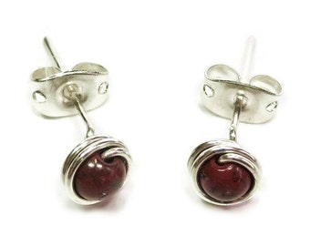 Red Jasper and Sterling Silver Wire-Wrapped Stud Post Earrings