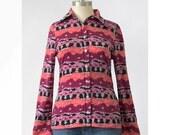 70s Mod Blouse / Striped Floral Hippie Shirt / 1970s Blouse / Pink Plum Grey Black Cactus Flower Print / Top S