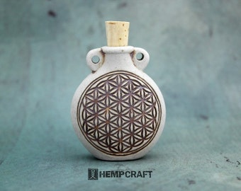 Ceramic Flower of Life Bottle Pendant - High Fired Clay Vessel
