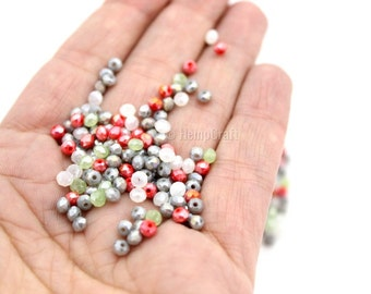 Tiny Faceted Glass Beads, 150pc Assorted Color Electroplate Glass Beads, 2.5x3.5mm
