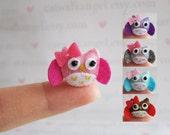 Felt Miniature - Felted Miniature owl- Felted owl - girly owl felted miniature - owl miniature - tiny owl - felted pink owl