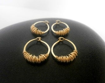 Gold Hoops Extra Small Huggie Hoops 10mm Tiny Sleeper Earrings Huggy Hoops with Texture Hammered Wire Jewelry