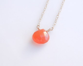 Orange Carnelian Necklace - Everyday Jewelry - Valentine's Day