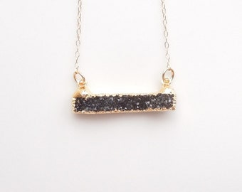 Black Druzy Bar Necklace - Layered Necklace - OOAK Jewelry