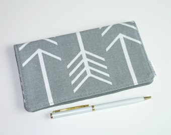 Checkbook Cover. Wallet. Receipt Holder. Large Arrows on Grey