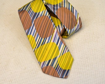 1950s Skinny Silk Tie with Ovoid Shapes