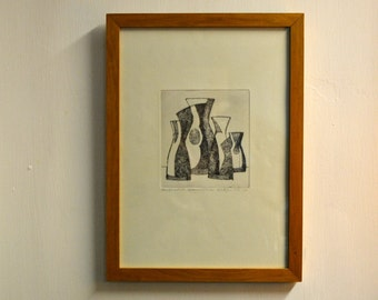 1960s Framed Etching by Marilyn and Allen