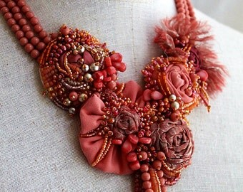 CORAL REEF Mixed Media Beaded Textile Bib Necklace