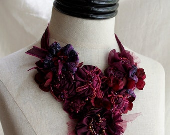 SHIRAZ Burgundy Purple Beaded Textile Statement Necklace