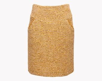SALE Boucle wool skirt, mustard yellow skirt, yellow midi skirt, yellow pencil skirt, winter skirt, straight skirt, pocket skirt