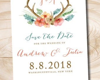 Rustic Floral Antlers Save the Date  - Printable digital file or printed invitations
