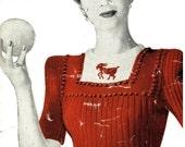 1940s Novelty Zodiac Jumpers, 34-36 bust WWII - vintage knitting pattern PDF (406)