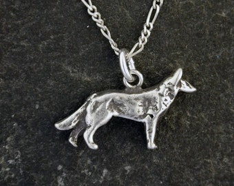 Sterling Silver German Shepard Dog Pendant on Sterling Silver Chain.