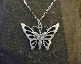 Sterling Silver Butterfly Pendant on Sterling Silver Chain