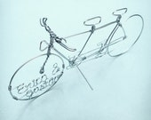 TANDEM BIKE - Wedding Cake Topper or Engagement Decor - Bicycle Cake Toppers - Custom Wire Art - Hand Sculpted Detailed Wire Tandem Bicycles