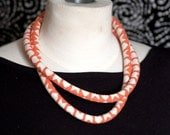 Bright Coral Chevron Double Loop Rope Necklace