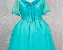 """Made to Order Disney inspired """"Ariel"""" One piece Lolita dress with Chiffon over lay in any colour you can dream up."""