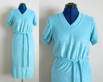Blue Summer Terrycloth Dress or Swim Coverup with Belt, Size Small