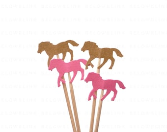 24 Kraft Brown and Pink Horse Party Picks, Cupcake Toppers, Food Picks, Toothpicks, Drink Picks - No1052