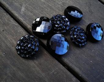Seven Assorted 1970's La Mode Large Black Plastic Shank Buttons Mod Buttons Geometric Buttons Sewing Supplies Flower Buttons 95