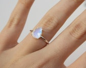 Faceted Pear Moonstone Ring - sterling silver moonstone ring - faceted moonstone ring - moonstone engagement ring