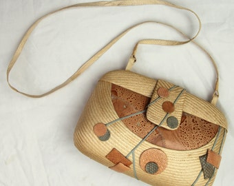 Vintage Snakeskin & Straw Handbag