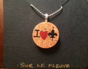 """Hand Painted """"I Love New Orleans"""" Cork Pendant Necklace"""