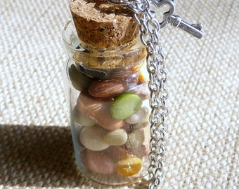 Good Luck Mini Apothecary Bottle Necklace, Dried Bean Necklace, Gift for Foodie, Vegan Gift, Gourmet Gift, Good Luck Talisman, Soup Beans