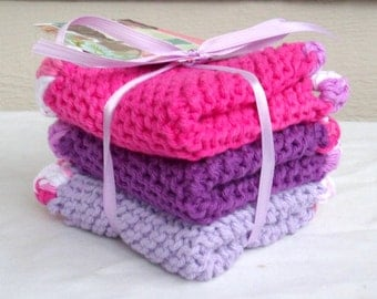 Hand Knit Washcloths - Set of 3 with Crocheted Edging - Eco Friendly - Purple, Lavender, Pink, White Dishcloths or Baby Cloths