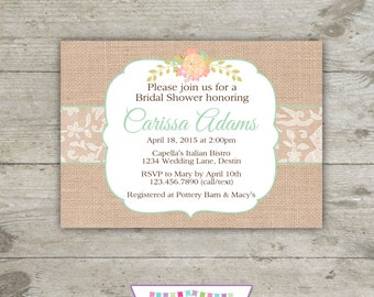 RUSTIC BURLAP & LACE - Bridal or Baby Shower 5x7 Invitation Printable