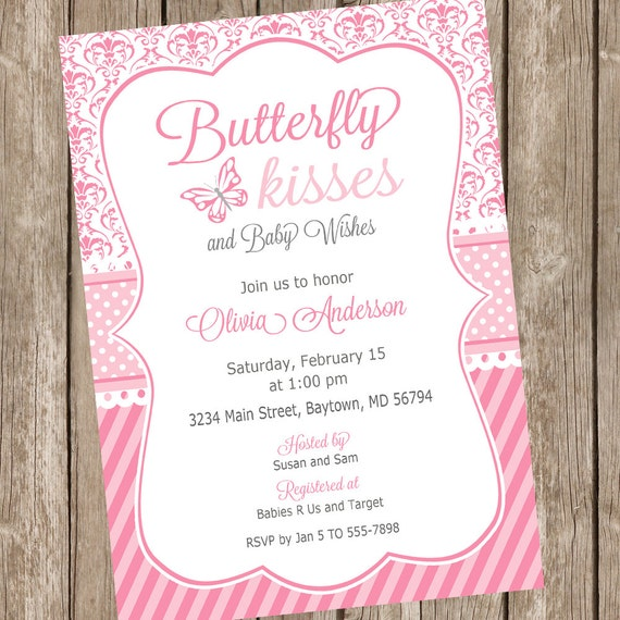 Butterfly Baby Shower Invites: Butterfly Kisses Baby Shower Invitation, Butterfly Baby