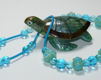 Lampwork Aqua Teal Blue Glass Beaded & Rubber Tubing Necklace Sterling Silver Closure