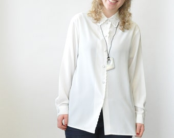 White Button Up Vintage Blouse