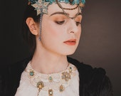 Feather Bridal Collar Necklace, Statement Vintage Couture Wedding Neck Piece, White with touch of blue