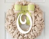 Spring Wreath, Initial Wreath, Burlap Wreaths For The Door, Rustic Wreaths