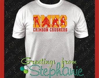 Men's Hockey Shirt with School Initials and Mascot Name Vinyl T-shirt