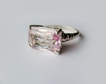 Horizontally Set Lavender Pink Kunzite In Sterling Silver Ring, 6.73ct. Size 7