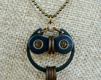 Bicycle Owl Pendant Bronze and Black