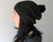 Bling Black Pom Pom Beanie, Black Sparkle Slouchy Beanie Hat, Ladies Sparkle Black Toque