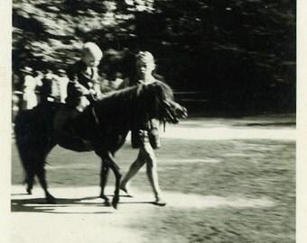 "Vintage Photo ""Childhood Pony Memory"" Horse Snapshot Photo Old Antique Black & White Photograph Found Photo Paper Ephemera Vernacular - 148"