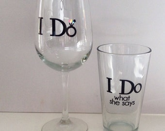 Funny Wedding Glasses, bride and groom wine and pint glass