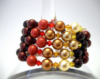 Red and gold Swarovski pearl bracelet: Scarlett on the Stairs - swarovski pearls, swarovski bracelet, memory wire bracelet, red orange