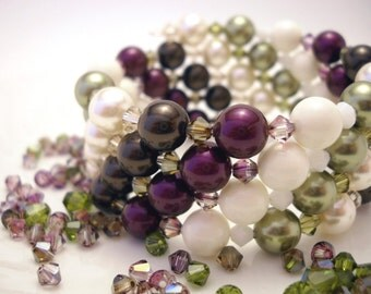 Plum and green Swarovski pearl wrap bracelet: Coffee in Venice - gift under 30, purple, green, ivory, brown, memory wire bracelet