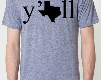 Mens Texas y'all t shirt- american apparel athletic gray- available in s, m, l, xl, xxl- WorldWide Shipping
