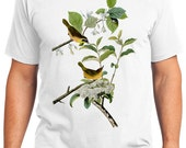 Yellow-Breasted Warbler Birds Retro Men & Ladies T-shirt - Gift for Bird Lovers and Ornithologist (idc023)