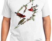 Purple Finch Bird Retro Men & Ladies T-shirt - Gift for Bird Lovers and Ornithologist (idc004)