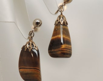 Vintage Screw Back Tiger Eye Earrings
