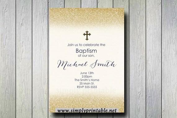 Gold Baptism/Communion Digital Invitation, Glitter Invite, Christening Invitation