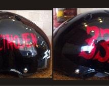 Custom Roller Derby Name & Number Specialty Vinyl Sport Helmet Decal SPARKLES